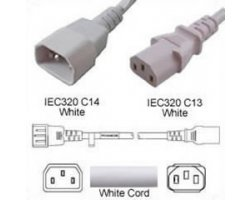 Strømforlængerkabel Hvid C14 C