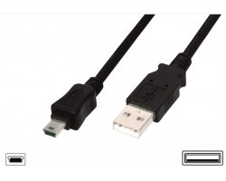 USB Mini Kabel 5,0 Meter sort,