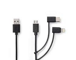 3-i-1 USB 2.0 kabel, USB-A: Ha